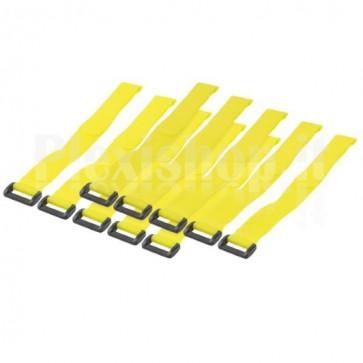 Fascette Fermacavo Gialle in Velcro Set da 10 pz