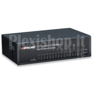 Switch Hub ethernet 10/100Mbps 16 porte desktop in metallo