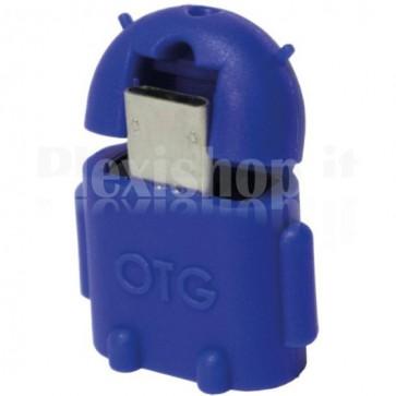 Adattatore USB 2.0 OTG MicroB M / A F per Smartphone/Tablet Blu