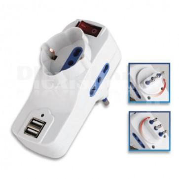 Adattatore con spina 16A rotante e 2 porte USB