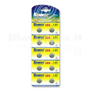 Batterie a bottone Alcalina LR43 LR1142 386 AG12 (set 10 pz)