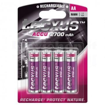 Blister 4 Batterie Ricaricabili AA Stilo HR6 2700mAh