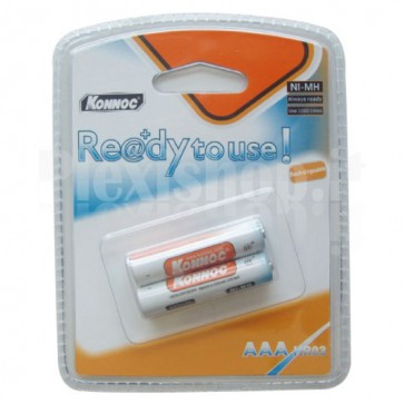 Blister 2 Batterie Ricaricabili AAA Mini Stilo 700mAh, Pronte all'uso (Batterie)