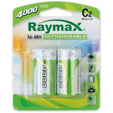 Blister 2 Batterie Ricaricabili Mezza Torcia C 4000 mAh