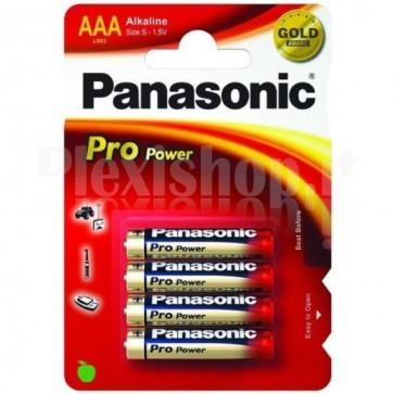 Blister 4 Batterie Mini Stilo AAA Alcaline LR03 Pro Power