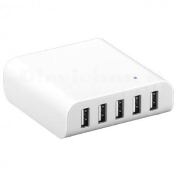 Caricabatterie 5 USB da Scrivania con Ricarica Intelligente Bianco