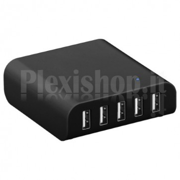 Caricabatterie 5 USB da Scrivania con Ricarica Intelligente Nero