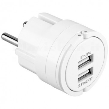 Caricabatterie da Rete 2 Porte USB 2.1A Bianco