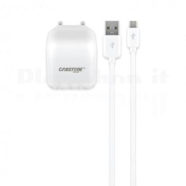 Caricabatterie da Rete USB con Cavo Micro USB 2.1A Bianco