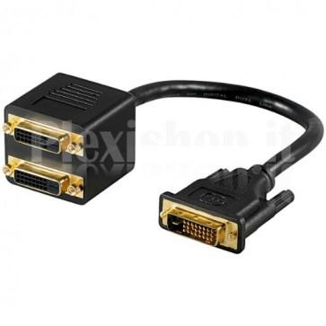 Cavo Adattatore Sdoppiatore DVI-D M a 2 DVI-D F Contatti Dorati