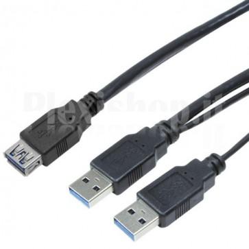 Cavo Alimentazione USB 3.0 Super Speed 1x A Femmina / 2x A Maschio