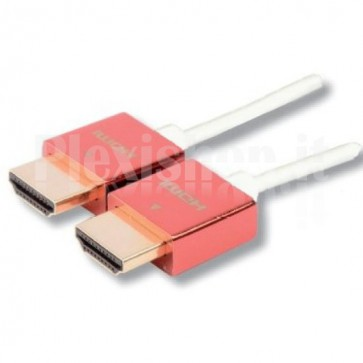 Cavo HDMI High Speed with Ethernet Ultra Slim 1m metal cover rosso