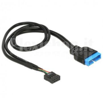 Cavo Interno USB3.0 19 pin Maschio / USB2.0 9 pin Femmina 45cm