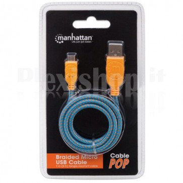 Cavo Micro USB Guaina Intrecciata USB2.0 A M/MicroB M Blu Blister