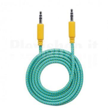 Cavo Audio con Guaina Intrecciata 1,8m Azzurro/Giallo