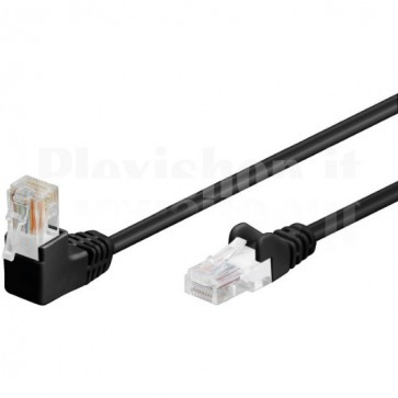 Cavo di rete Patch Connettore Angolato 90° CCA Cat. 5e UTP 3m Nero