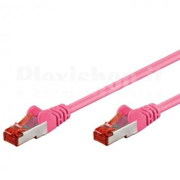 Cavo di rete Patch in CCA Schermato Cat. 6 Rosa F/UTP 1 m Bulk