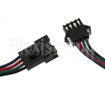 Coppia di cavetti terminati con connettori SM-4P per strisce LED RGB, 10cm