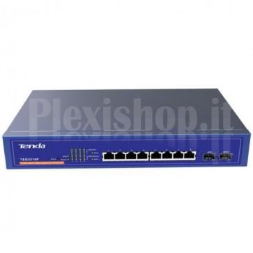 Desktop Switch PoE 8 Porte Gigabit+2 Porte Fibra SFP Blu TEG3210P