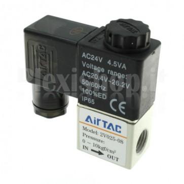 "Elettrovalvola pneumatica per aria 2V025-08, G1/4"" 24Vac"