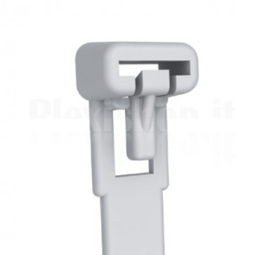 Fascette Fermacavi con Linguetta 250x7,6mm in Nylon 100pz Bianco