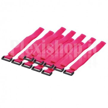 Fascette Fermacavo Fucsia in Velcro Set da 10 pz