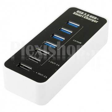 Hub 4 Porte USB 3.0 Super Speed + Caricabatterie USB 1A/2A