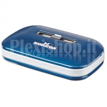 Hub USB 2.0, 7 porte con Alimentatore e Cavo Piatto