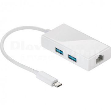 Hub USB-C SuperSpeed 2 Porte USB3.0 A Femmina Bianco