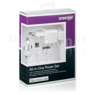 Kit Caricabatteria 3in1 30pin per iPhone/iPad 2.1A Bianco