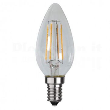 Lampada LED Candela E14 Bianco Caldo 4W Filamento Classe A+