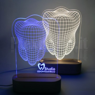 Lampada 3D Dente in Plexiglass - Logo Edittion