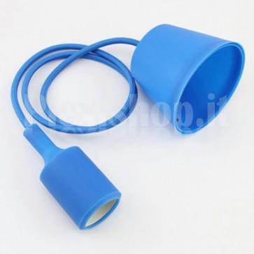 Lampadario portalampada E27 in silicone - Blu