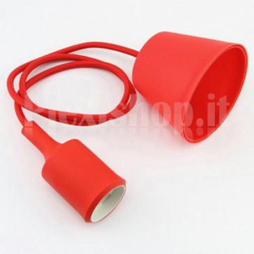 Lampadario portalampada E27 in silicone - Rosso