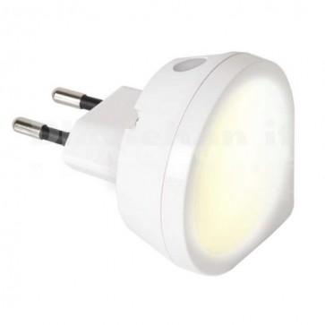 Luce Notturna LED 0,4W Rotonda con Sensore Crepuscolare