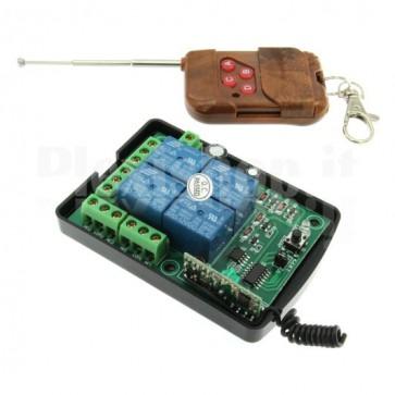 Modulo Relay Wireless a 4 canali + telecomando, 10A