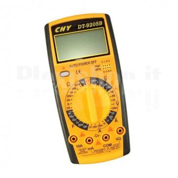 Multimetro digitale DT9205B per la misura di tensione, corrente, resistenza, capacità e test di diodi e transistor.