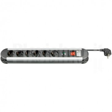 Multipresa in Alluminio 6 Posti Schuko con Interruttore e Led