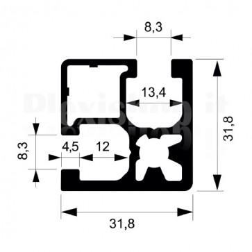 Profilo strutturale in alluminio S118 - 2,2 mt