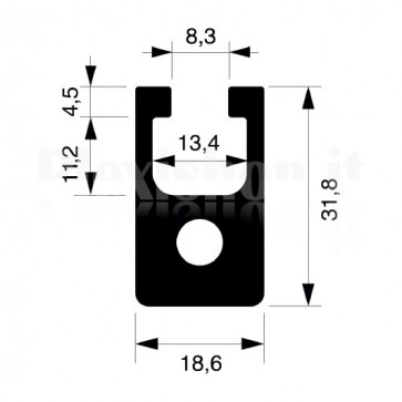 Profilo strutturale in alluminio S16 - 2,2 mt