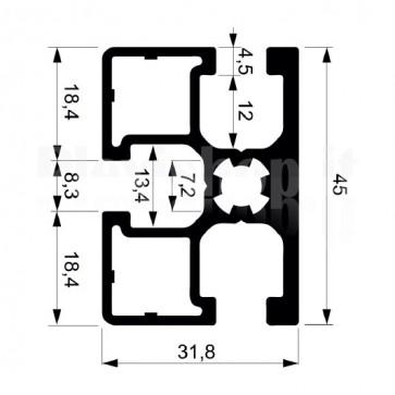 Profilo strutturale in alluminio S190 - 2,2 mt