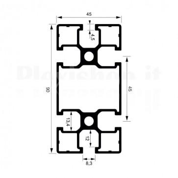 Profilo strutturale in alluminio S49 - 2,2 mt