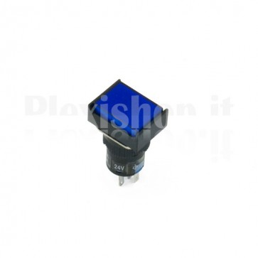 Pulsante luminoso Blu rettangolare AL6-M
