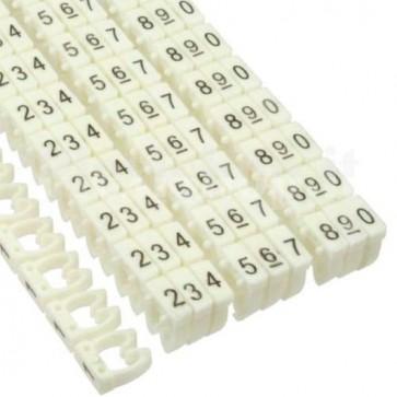 """Segnacavo bianco con numeri """"0-9"""" per cavi da 1.5mmq"""