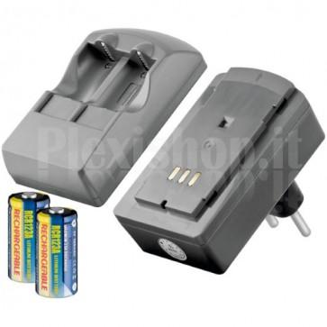 Set Caricabatteria per Batterie Foto + 2 Pile CR123 Ricaricabili