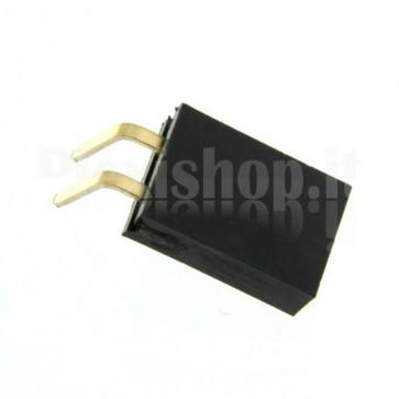 Strip di contatti angolari quadrati 1x2 femmina, passo 2.54 mm