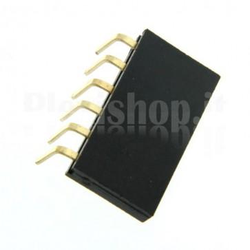 Strip di contatti angolari quadrati 1x6 femmina, passo 2.54 mm