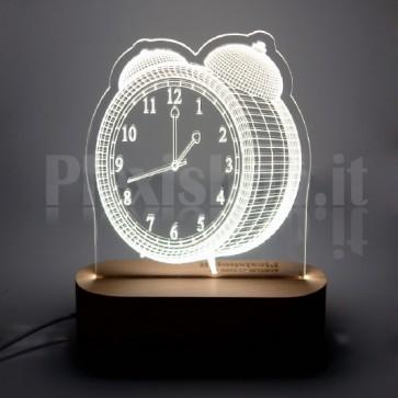 Lampada 3D Sveglia Bianca