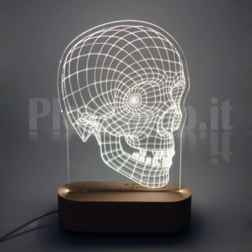 Lampada 3D Teschio  Bianca