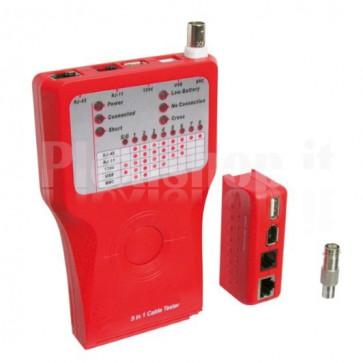 Tester di Rete per Cavi Firewire RJ45 Cat. 5 e 6, ISDN, USB e BNC